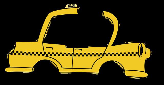 taxi řidič ve žlutém voze na bílém pozadí
