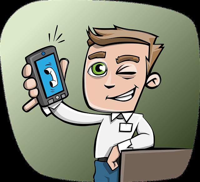 muž se zvonícím telefonem, mrkající do kamery
