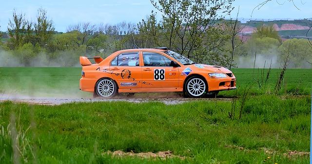 oranžový závodní vůz v terénu příroda